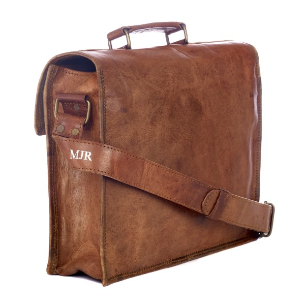 a3c811bcf Personalised Large Old School Brown Goat Leather Satchel