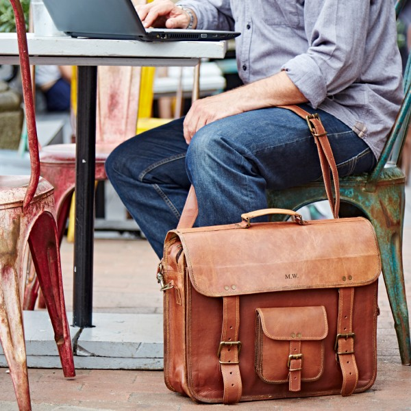 Personalised Extra Large Briefcase Style Leather Satchel  4e7a5a21cdaab