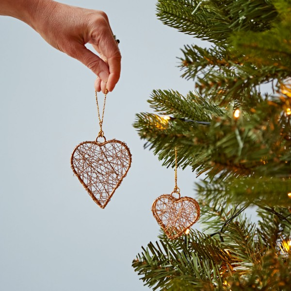 Christmas Heart Decoration.Metallic Heart And Star Christmas Decorations Paper High