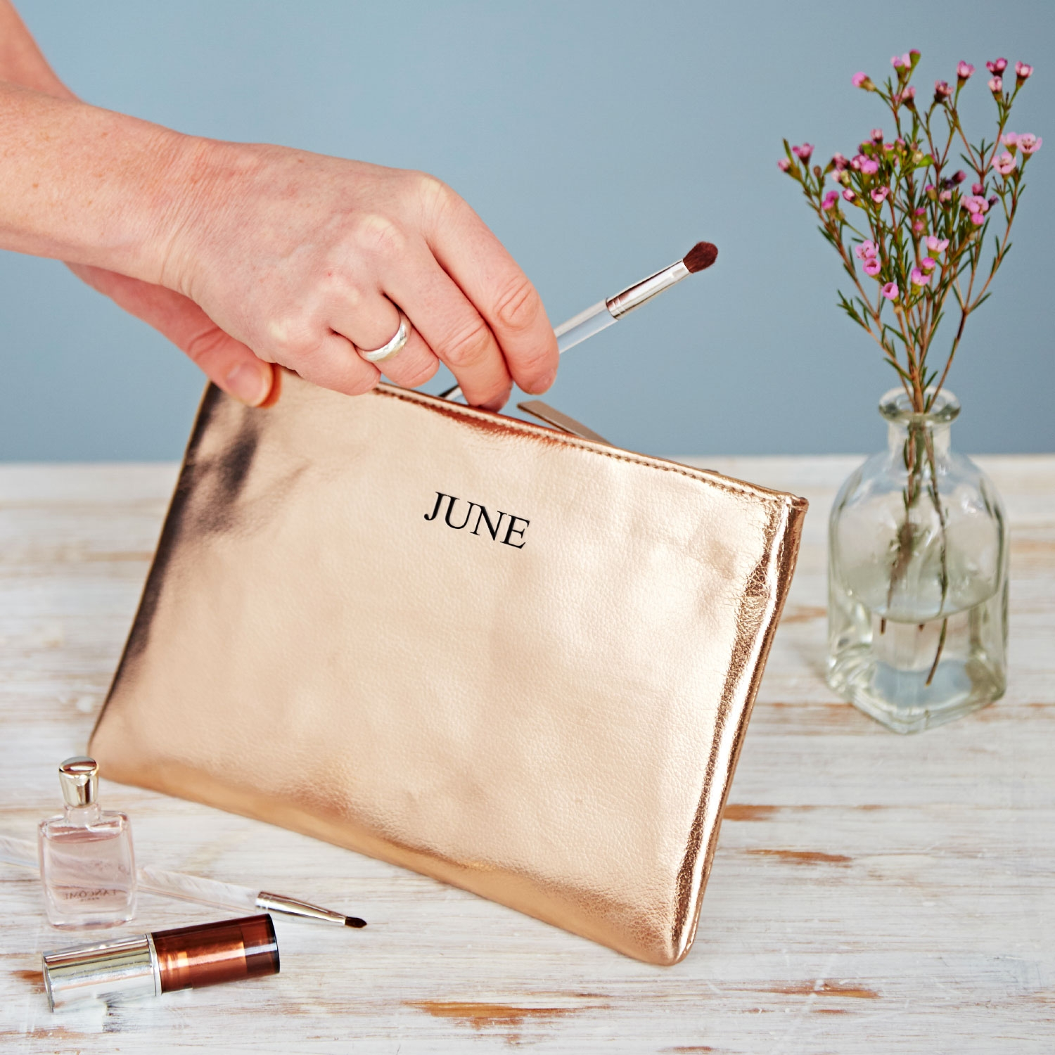 Fair Trade personalised metallic makeup pouch